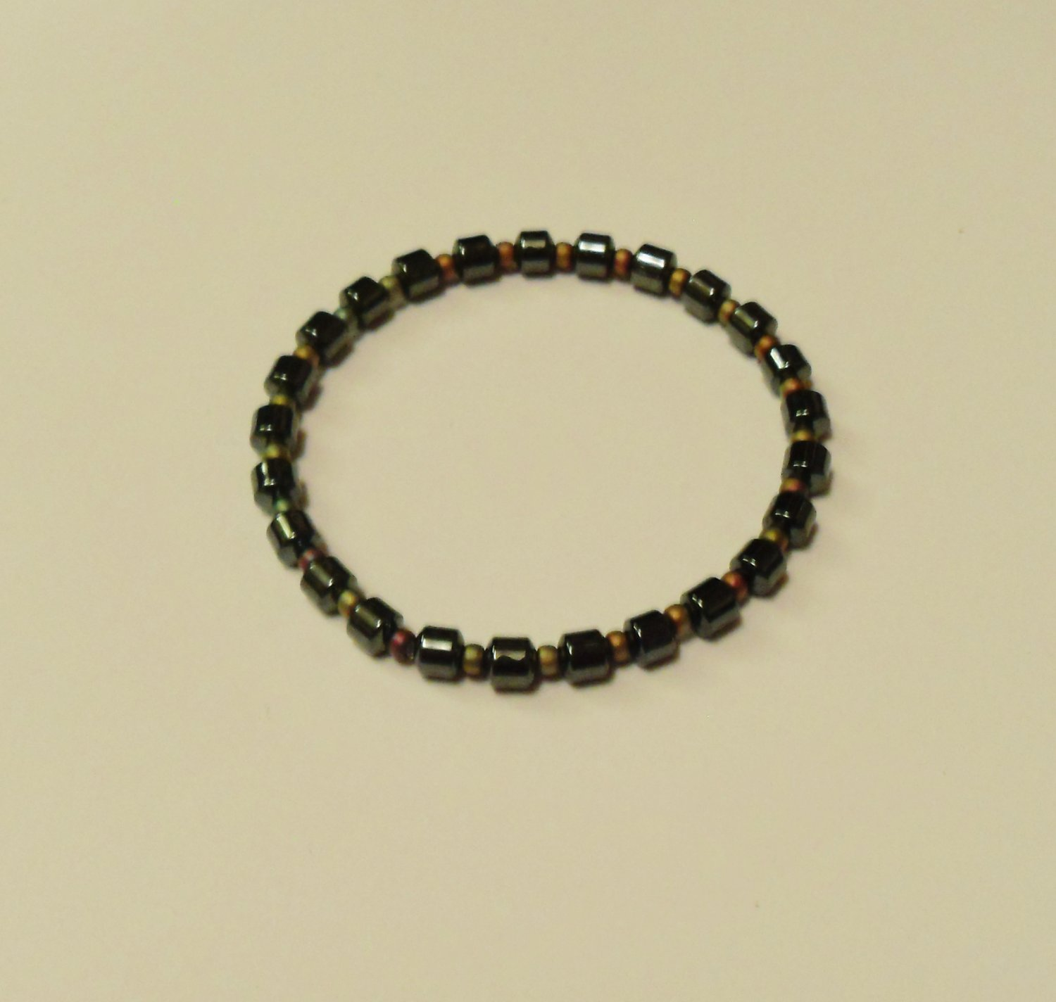 Hematite and pinky brown iridescent surfer bracelet