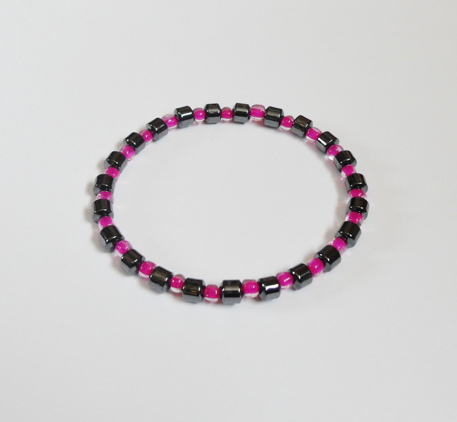 Hematite and clear dark pink surfer bracelet