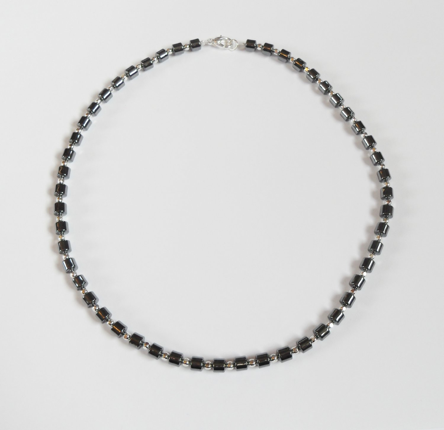 Hematite and sterling silver surfer necklace