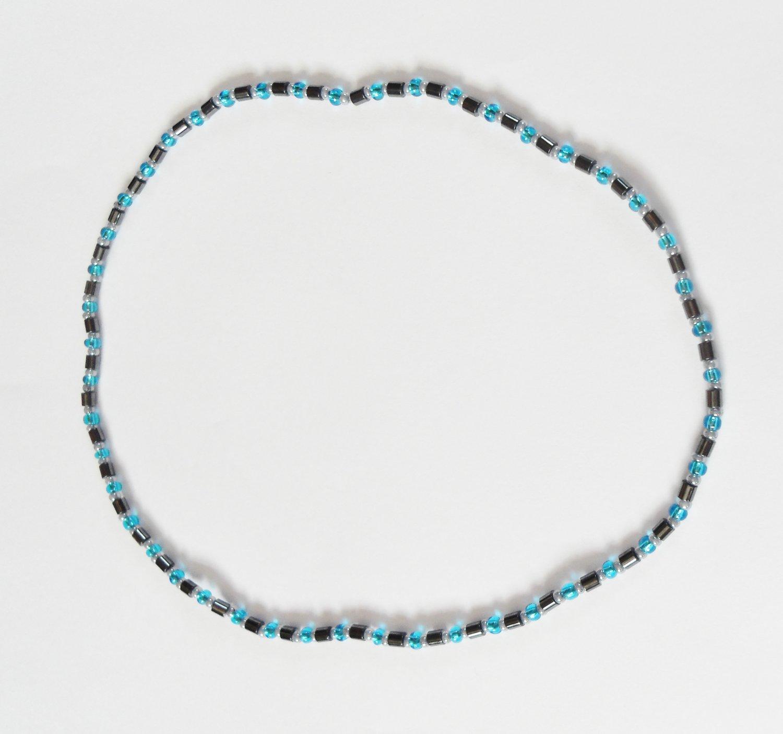 Hematite blue shimmer surfer necklace