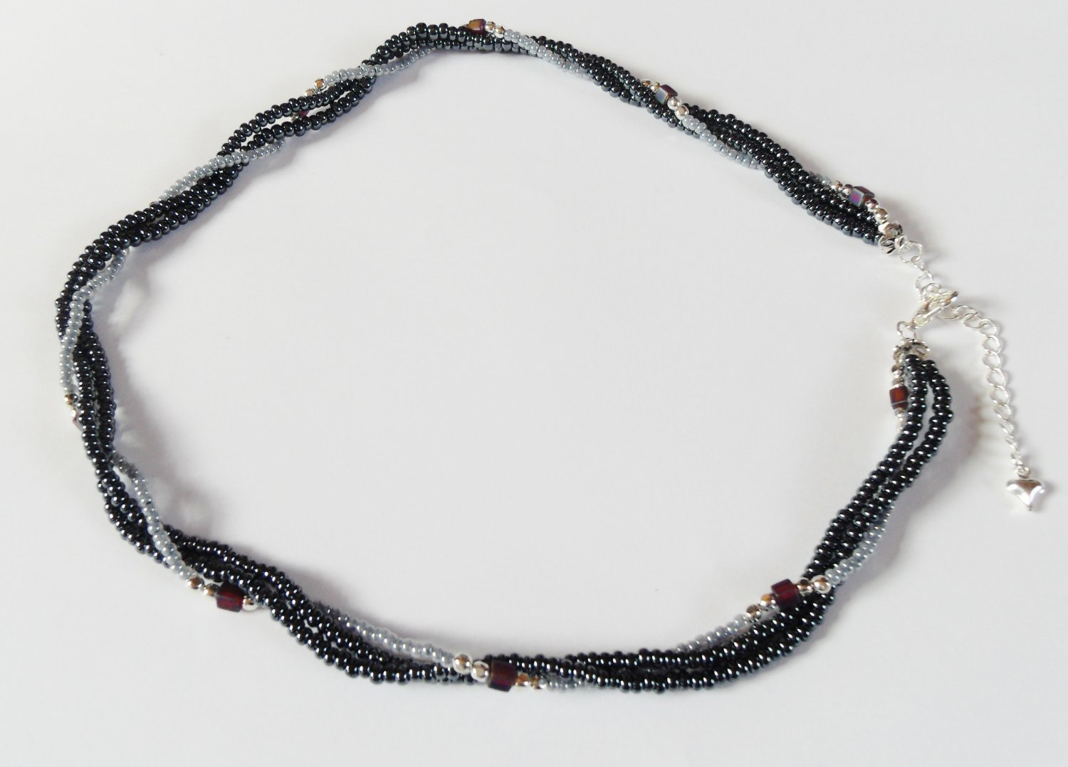Hematite and dark purple square twisted necklace