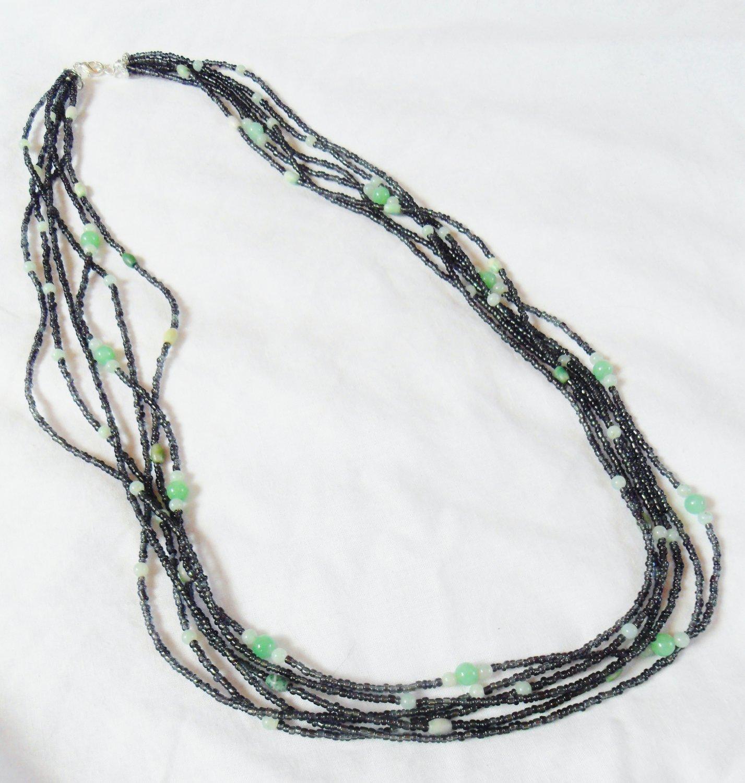 Agate, jasper, and jade multi-strand necklace