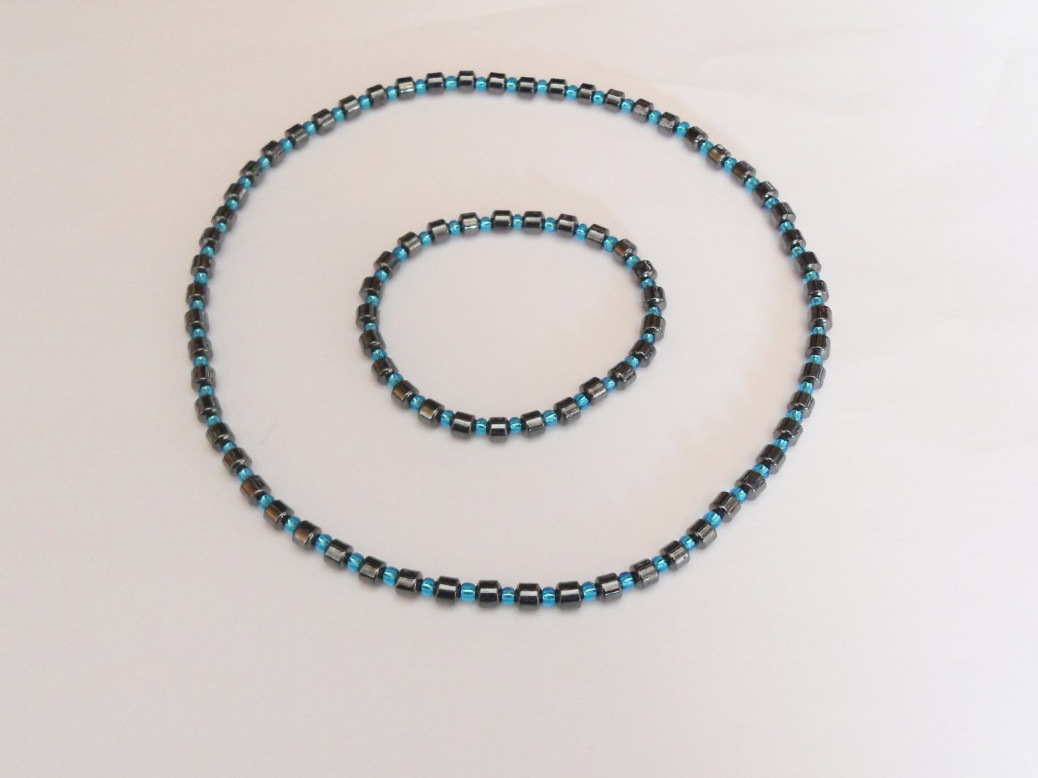 Hematite and clear blue surfer set