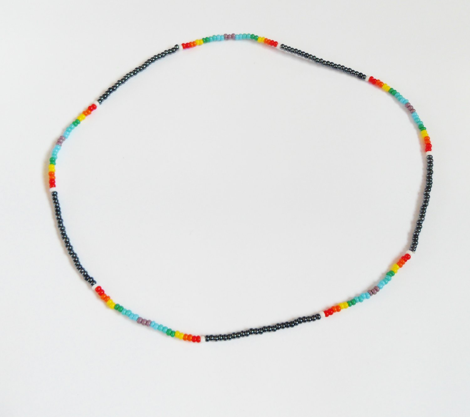Hematite and multi rainbow stretchy necklace