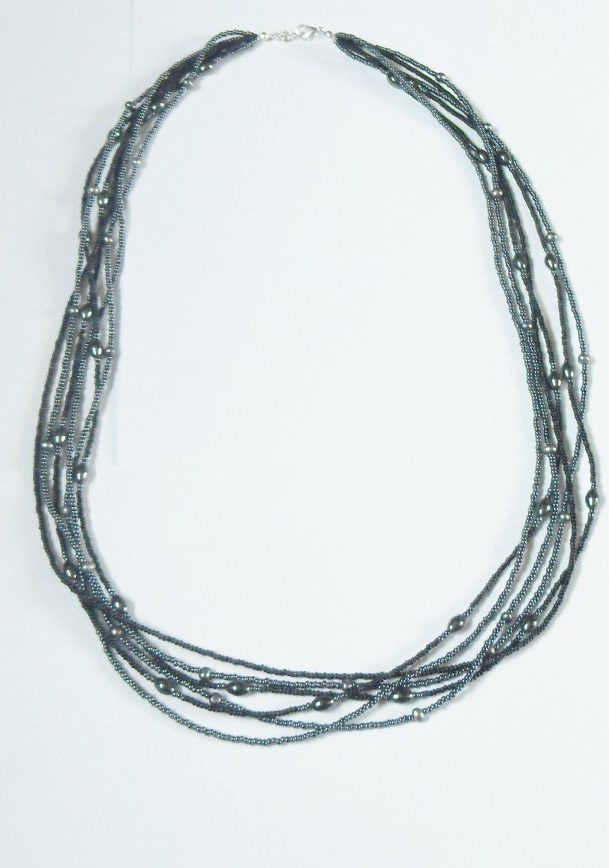 Multi strand hematite and black bead necklace