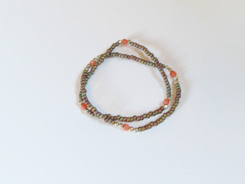 Iridescent pinky brown surfer bracelets