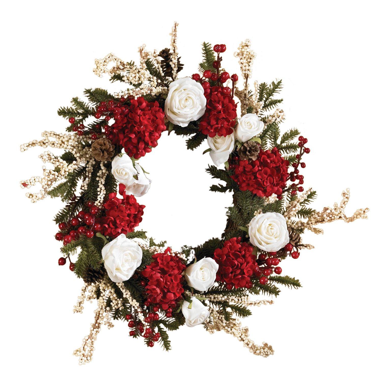 "24"" Hydrangea w/White Roses wreath"