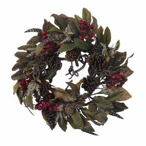 """24"""" Pinecone, Berry & Feather Wreath"""