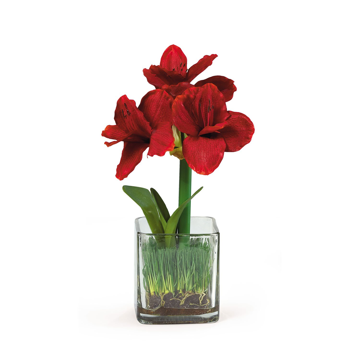 Amaryllis silk flower arrangement w glass vase - Flower arrangements for vases ...