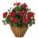 Hibiscus Wall Sconce Silk Plant