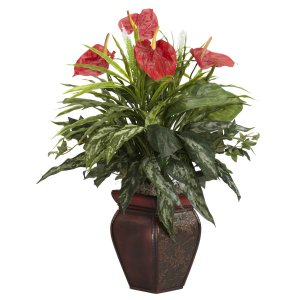 Mixed Greens & Anthurium w/Decorative Vase Silk Plant