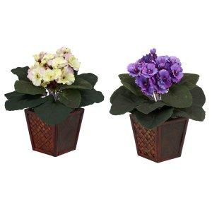 African Violet w/Vase Silk Plant (Set of 2)