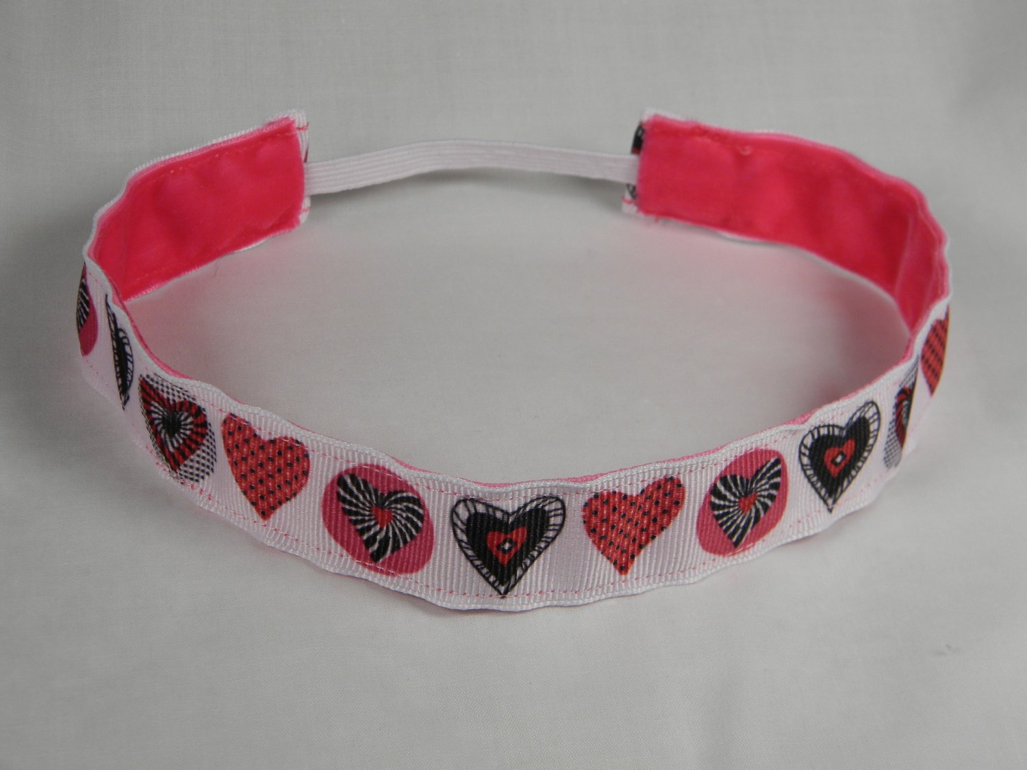 Headband White with Assorted Hearts