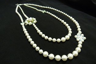 Handmade White Pearl Necklace with Swaroski Crystals & Pearls Flower