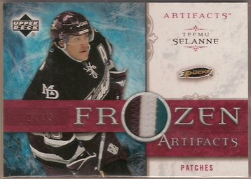 Teemu Selanne 2006-07 Artifacts Frozen Artifacts Patches Red #FATS 27/35 PATCH SN