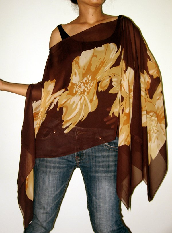 Floral Scarf Caftan Wing Casual Beachcover or Poncho Top