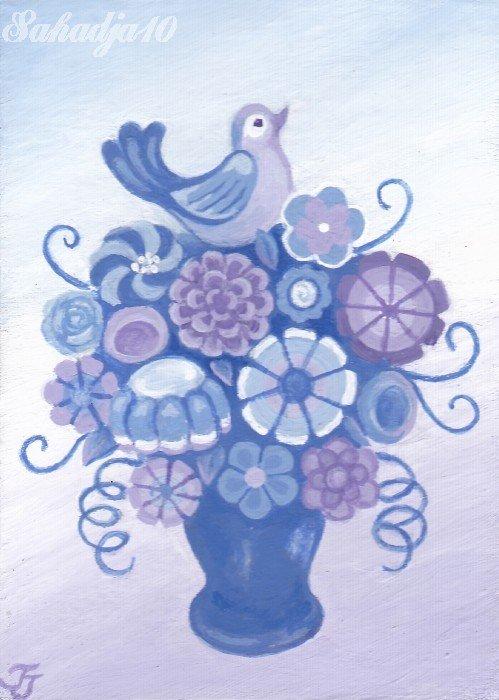 Fllowers Bird ACEO Original Fantasy Painting by Sahadja10 Tj