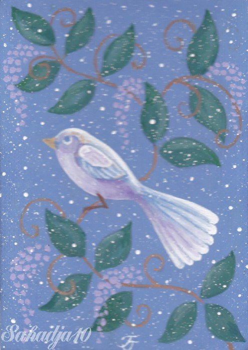 Bird ACEO Original Acrylic Painting Fantasy Art by Tj Sahadja10