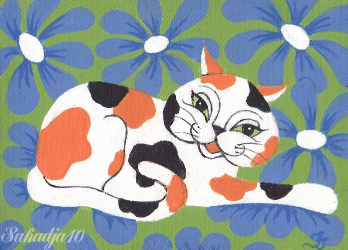Cat ACEO Original Fantasy Painting by Tj Nichols Sahadja10