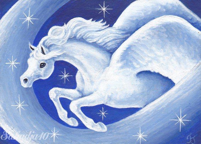 Star Dust ACEO Pegasus Canvas Giclee Print by Tj Sahadja10