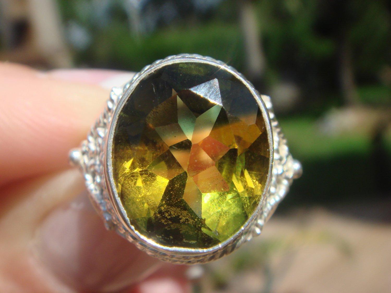 Bi-Color Quartz Ring  size 7 1/2   .925 Sterling Silver