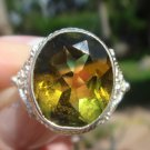 Bi-Color Quartz Ring  size 7 1/2   .925 Sterling Silver