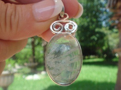"""Moss Agate Pendant  1.75""""      .925 Sterling Silver"""
