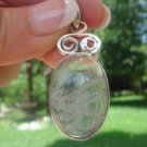 "Moss Agate Pendant  1.75""      .925 Sterling Silver"