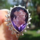 Amethyst Ring  size 8 3/4   .925 Sterling Silver