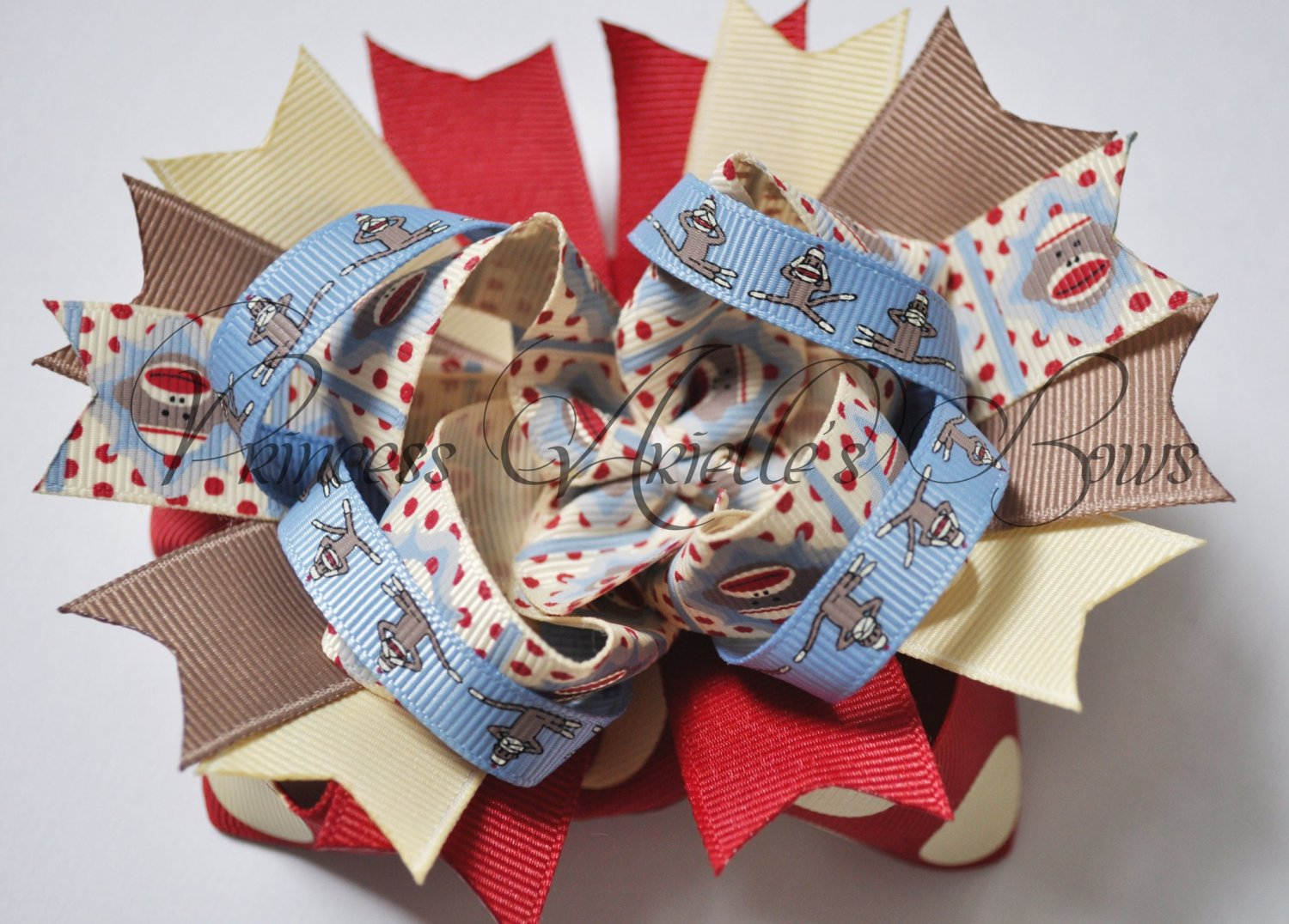 Sock Monkey Faith Bow