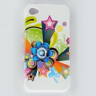 Hard Plastic Design Case for Apple iPhone 4/4S - White Flower Stars