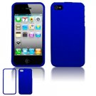 Hard Plastic Rubber Feel Case for Apple iPhone 4/4S - Blue