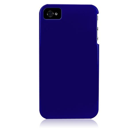 Hard Plastic Glossy Back Cover Case for Apple iPhone 4/4S - Dark Blue