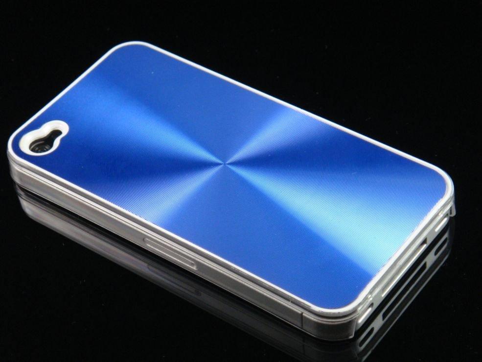 Hard Plastic Aluminum Finish Back Cover Case for Apple iPhone 4 - Blue