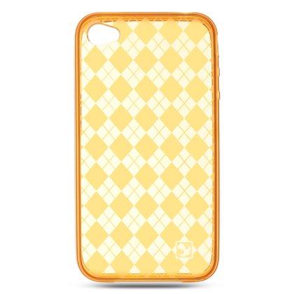 Crystal Gel Check Design Skin Cover Case for Apple iPhone 4/4S - Orange