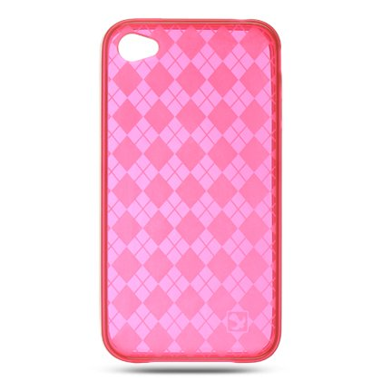 Crystal Gel Check Design Skin Cover Case for Apple iPhone 4/4S - Red
