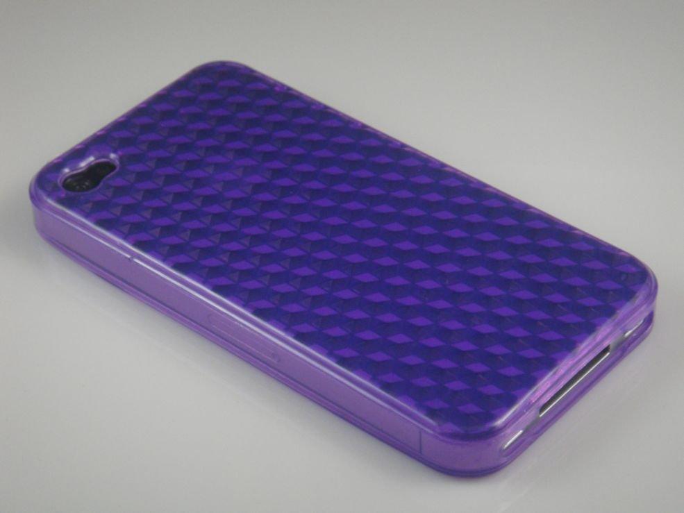 Crystal Gel Diamond Design Case for Apple iPhone 4/4S - Purple