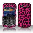 Hard Plastic Rubber Feel Design Case for Blackberry Bold 9700/9780 - Hot Pink Leopard