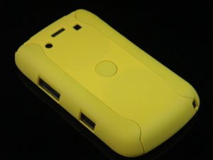 Hard Plastic Rubber Feel Armor Case for Blackberry Bold 9700/9780 - Yellow