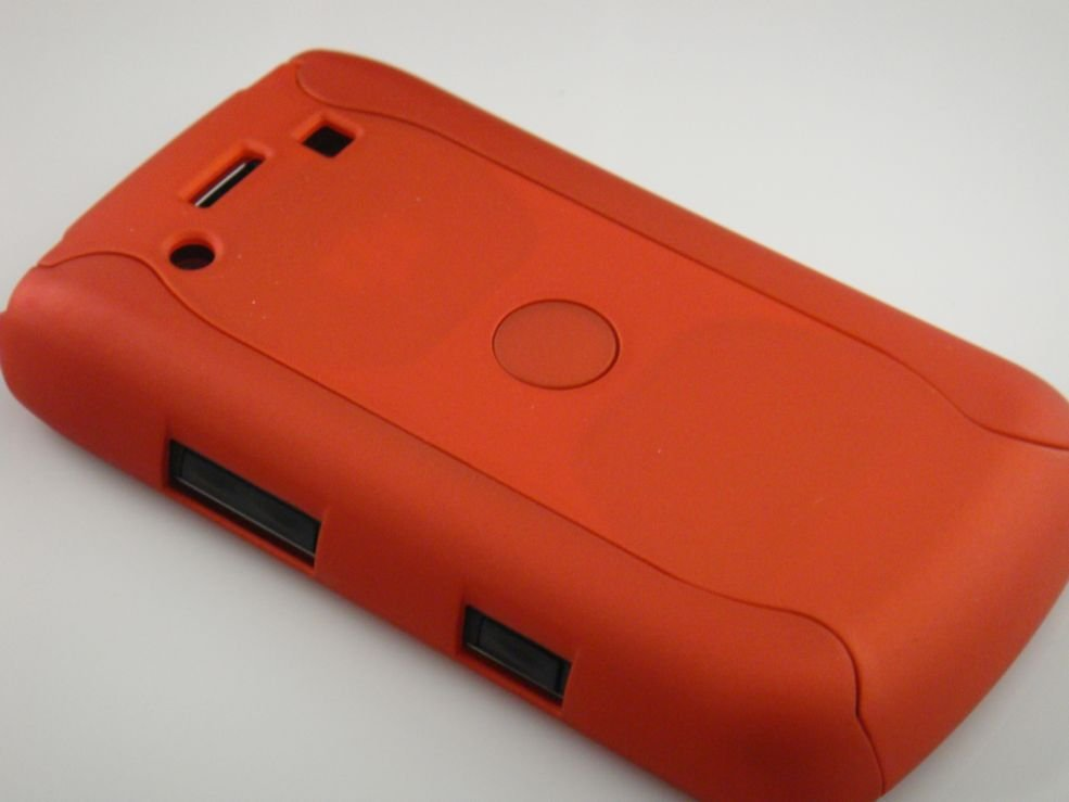 Hard Plastic Rubber Feel Armor Case for Blackberry Bold 9700/9780 - Orange