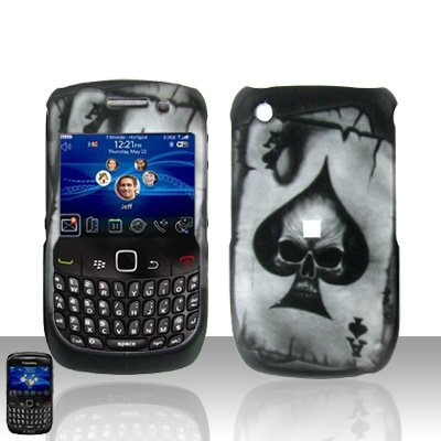 Hard Plastic Rubber Feel Design Case for Blackberry Curve 8520 - Ace of Spade Skull