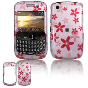 Hard Plastic Design Case for Blackberry Curve 8520 - Pink Flowers