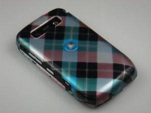 Hard Plastic Design Case for Blackberry Curve 8900 - Blue Diagonal Check