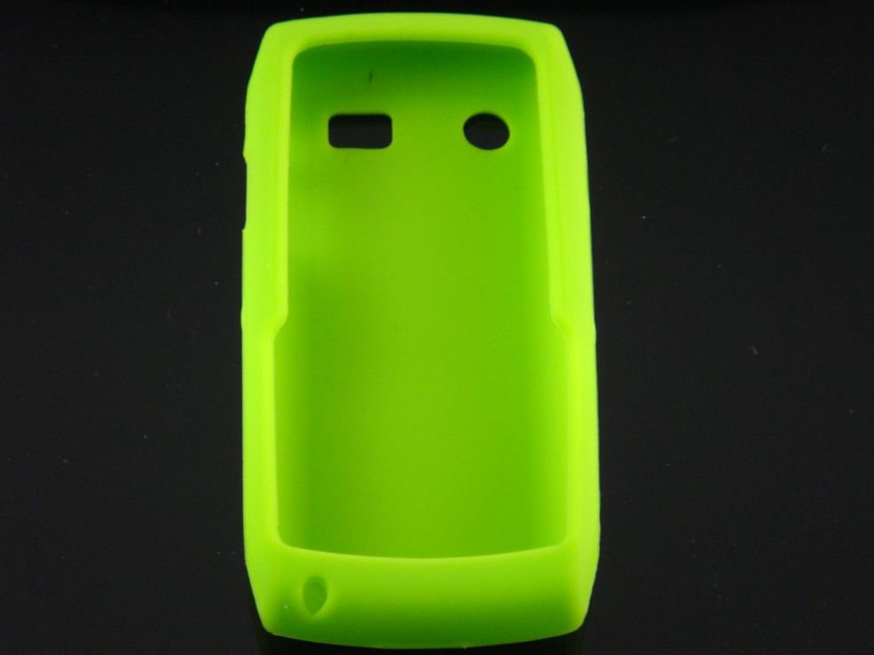 Soft Silicone Skin Cover Case for Blackberry Pearl 9100 - Neon Green