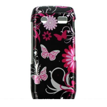 Hard Plastic Crystal Design Case for Blackberry Pearl 9100 - Pink Butterfly