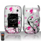 Hard Plastic Rubber Feel Design Case for Blackberry Style 9670 - Silver and Pink Flowers