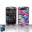 Hard Plastic Rubber Feel Design Case for Blackberry Torch 9800 - Rainbow Zebra