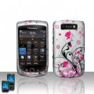 Hard Plastic Rubber Feel Design Case for Blackberry Torch 9800 - Silver and Pink Flowers