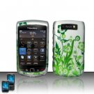Hard Plastic Rubber Feel Design Case for Blackberry Torch 9800 - Green Vines