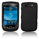 Hard Plastic Rubber Feel Case for Blackberry Torch 9800 - Black
